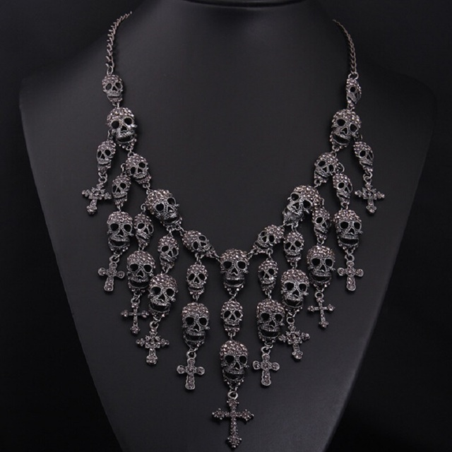 d649365c3 Newest Gorgeous Fashion Necklace Skeleton skull Cross Jewelry crystal  Department Statement Women Choker Necklaces Pendants