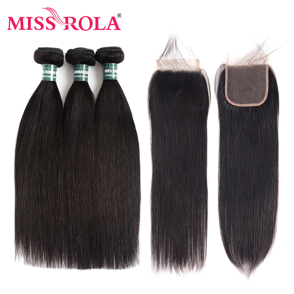 Frøken Rola Hair Brasilian Straight Hair 3 Bundles With Closure - Menneskelig hår (for svart)