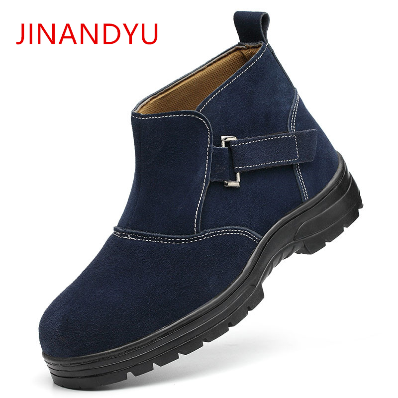 Autumn Winter Safety Boots Men 39 s Velvet Steel Toe Work Shoes Men Smash proof Puncture Safety Shoes Non slip Waterproof Men Boots in Work amp Safety Boots from Shoes