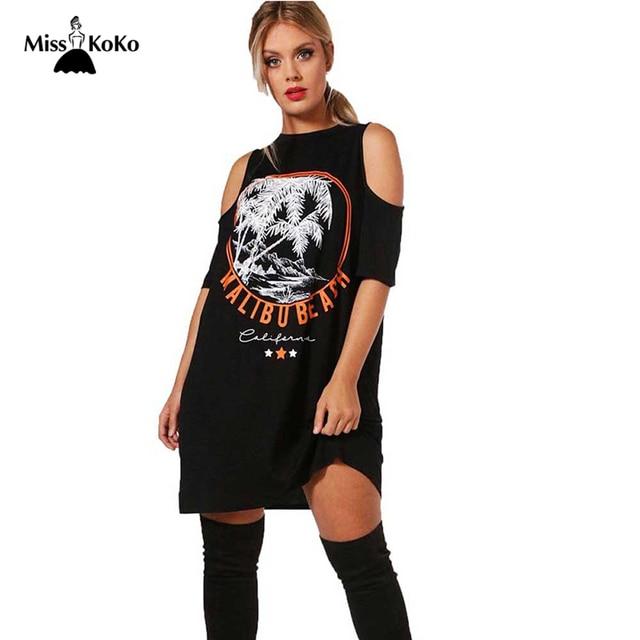 eba9ff98c2 Misskoko Plus Size 2018 Women Off Shoulder Short Sleeve Dress Oversized  Summer Fashion Scape Print Loose O-Neck Dresses 3XL 7XL