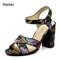 Fletiter New Embroidery Designer Shoes Woman Sandal High Heel Elegant Pumps Sexy Peep Toe Ankle Strap