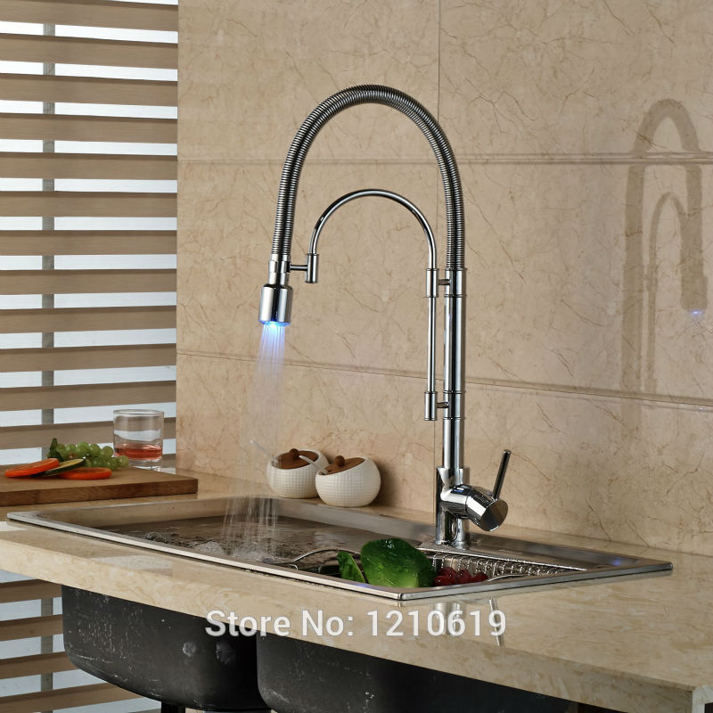 Newly Single Hole Kitchen Sink Faucet Pull Down Spout Chrome Plate LED Light Basin Mixer Faucet Tap swanstone dual mount composite 33x22x10 1 hole single bowl kitchen sink in tahiti ivory tahiti ivory