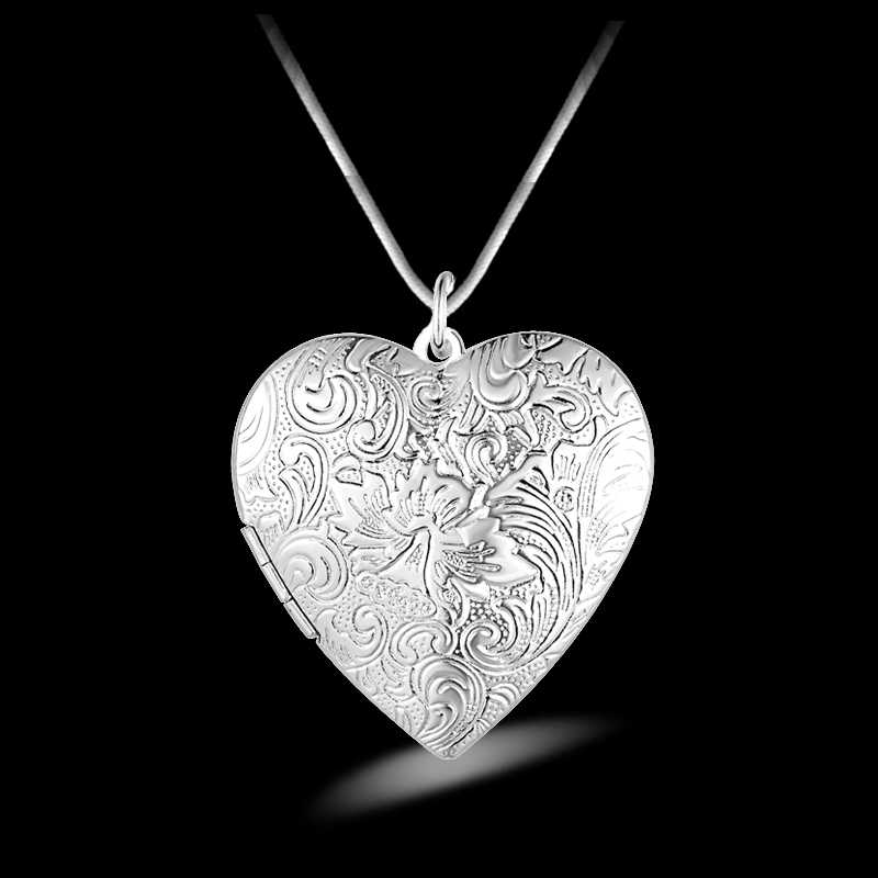 Hot Trendy Women 925 Sterling Silver Heart Shape Pendant Necklace Women Jewelry Free Shipping