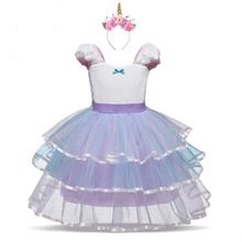Girls Kids Halloween Unicorn Costumes Rainbow Tutu Dress with Hair Hoop Princess Flower Party 1-5Y 2018 New