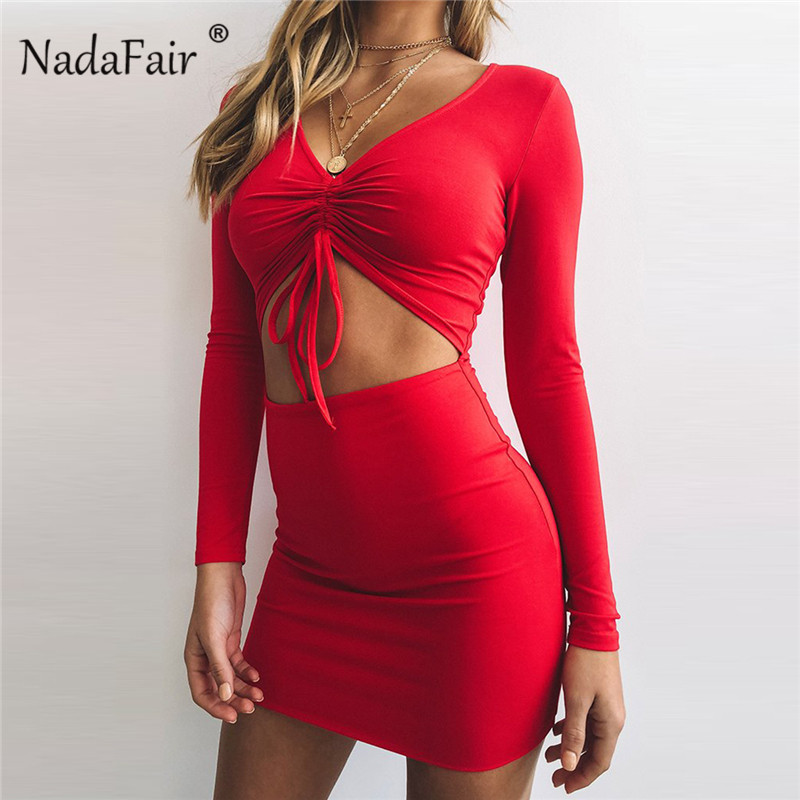 Women's Clothing Nadafair V Neck Long Sleeve Bodycon Dress Hollow Out Lace Up Sexy Party Club Dresses Women Mini Black Red Autumn Winter Dresses Beneficial To Essential Medulla