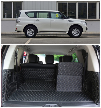 For Nissan Patrol Y62 2012-2017 Cargo Liner Car Trunk Mats Auto Surrounded by all Carpets High Quality Embroidery Leather Mats Mitsubishi Pajero