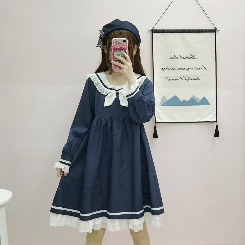 Kawaii Lolita Dress Japanese Soft Sister Autumn Retro Cute Wind Navy Collar Bow Tie Was Thin Long Dress Sweet Girls Dress