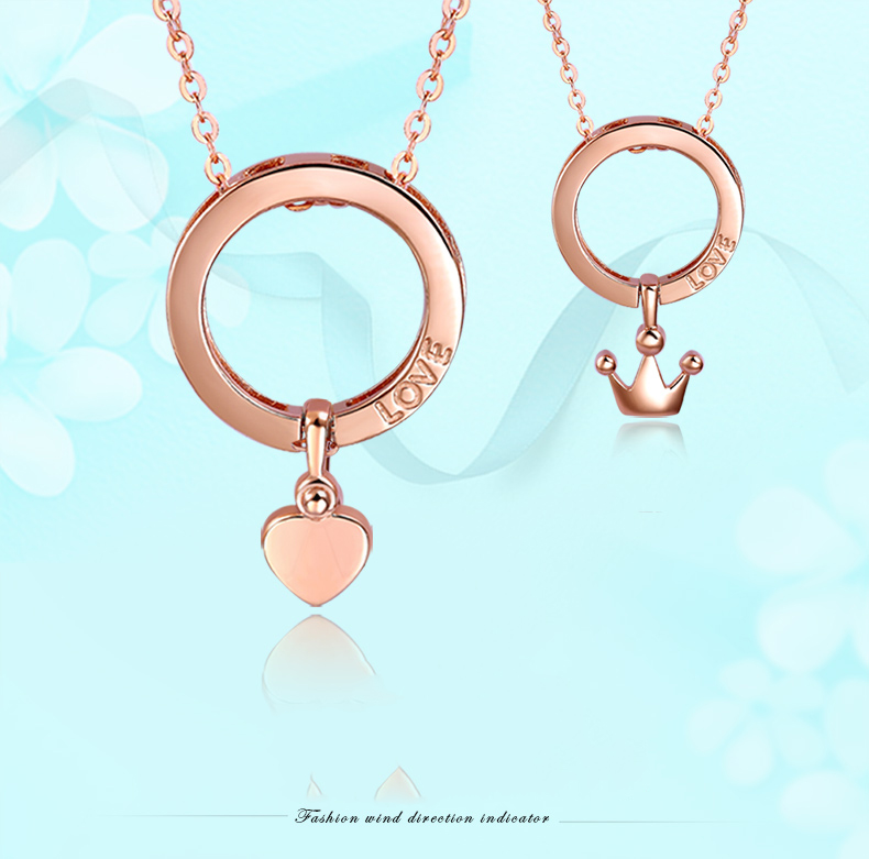 Delicate 18KT Pure Gold AU750 Rose Color Heart Crown Charm Necklace Pendant For Women Female Girl Fine Jewelry Gift PartyDelicate 18KT Pure Gold AU750 Rose Color Heart Crown Charm Necklace Pendant For Women Female Girl Fine Jewelry Gift Party