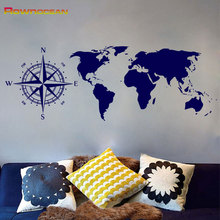 New Arrival Nautical Compass Scratch World Map Wall Stickers Home Decor Living Room Vinilos Paredes Mural Muraux Custom Color C5