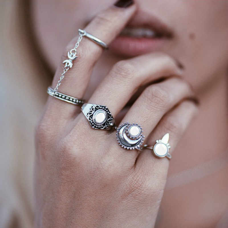 34 Style Silver Convention Vintage Knuckle Rings for Women Boho Geometric Flower Crystal Ring Set Bohemian Finger Jewelry