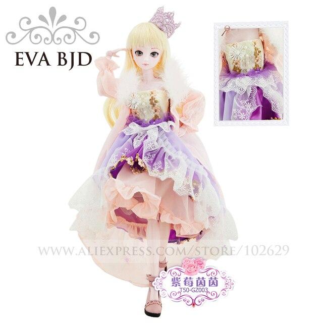 1/4 BJD Boneca 45 cm 18 articulado bonecas Princesa Roxo Rosa Pele (Olhos livres + Cabelo + Maquiagem + Roupa + Sapatos) EVA BJD DA002-08