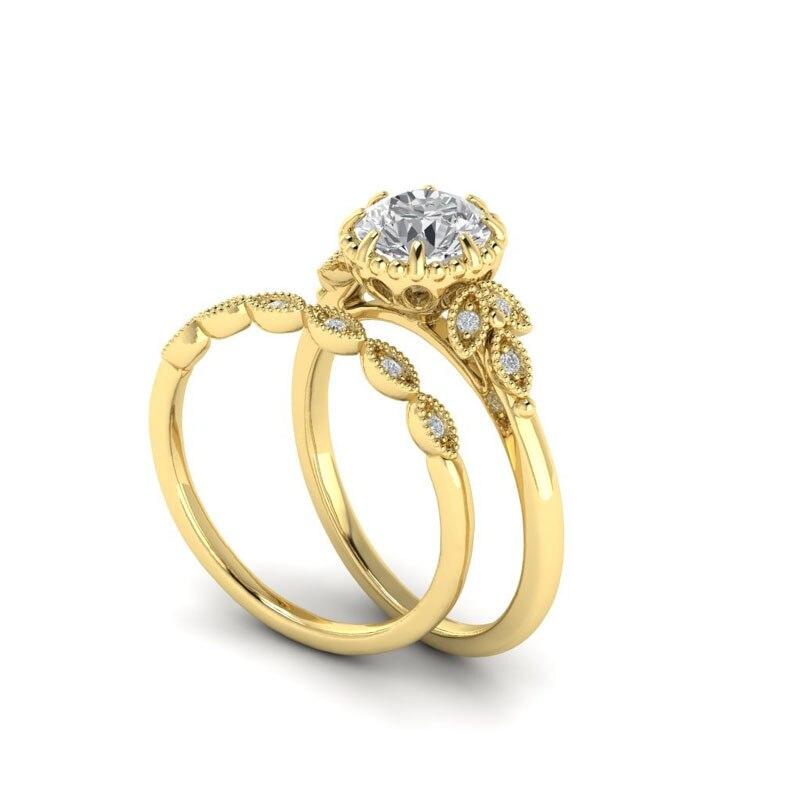 Мода золото обещание Любовь кольцо фианит двойной обручальные кольца пара 2018 Обручение Кольца Набор для Для женщин Дамы подарки R562