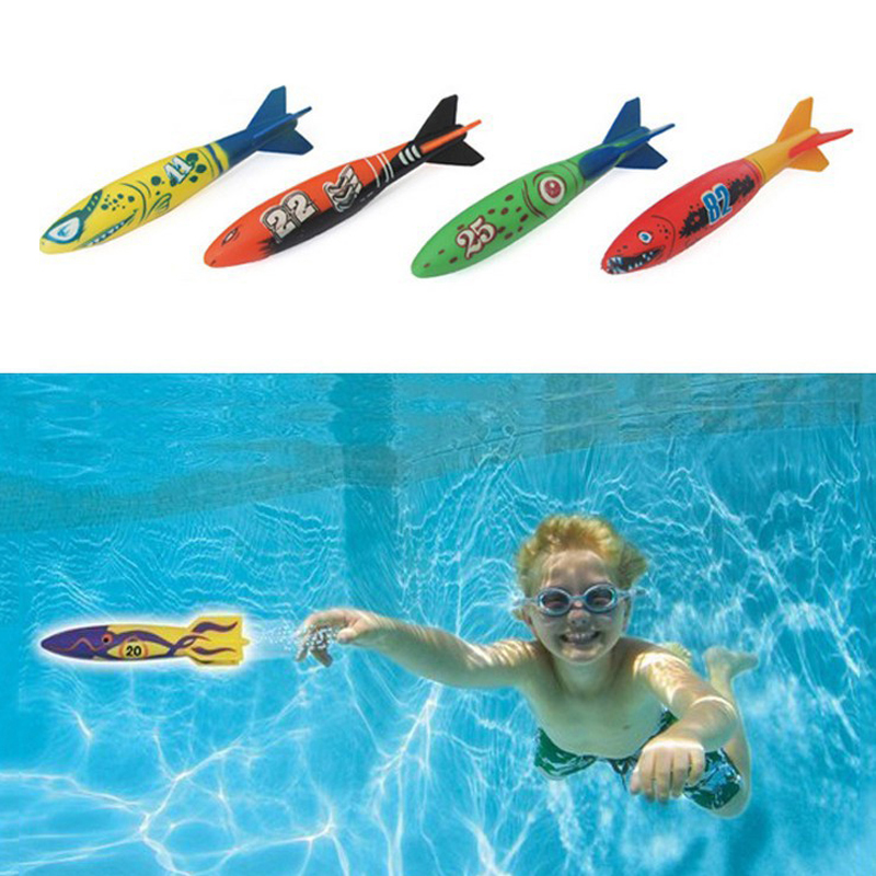 outdoor swimming pool throw deliver launch glide toy torpedoes 4 in 1 set summer play water dive toy B41003