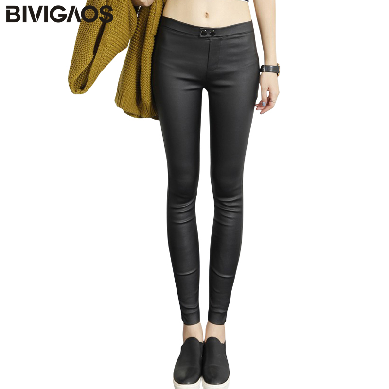 2018 Autumn New Fashion Korean Fall Womens Outer Wear Matt Black Leather Leggings Pencil Pants Skinny Leggings Trousers Women