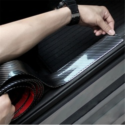 1m Universal Car Stickers Carbon Fiber Rubber Styling Door Sill Protector Cover Anti Scratch for Car Suv Truck