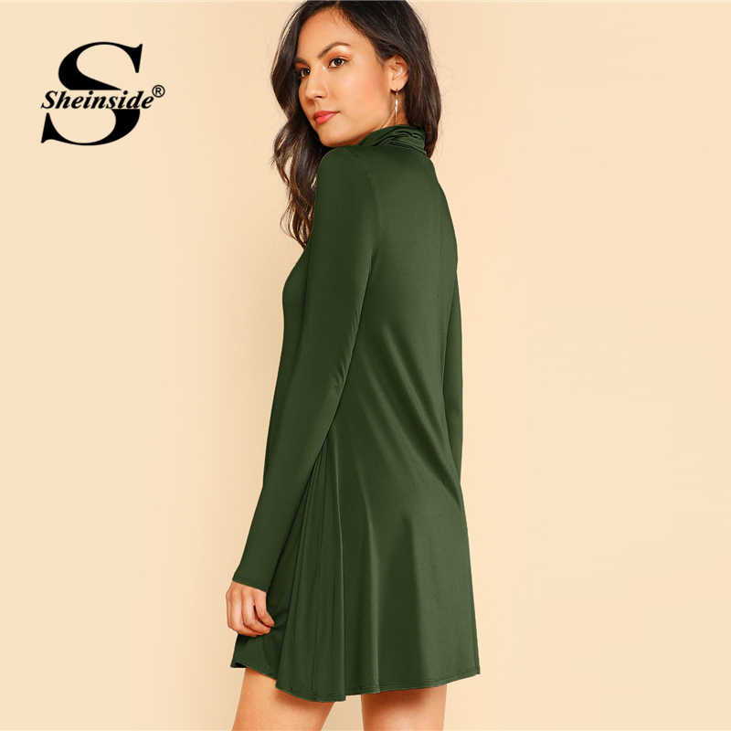 3f06f1419d ... Sheinside Green High Neck Flowy Mini Dress Women Long Sleeve Fit and Flare  Dresses 2018 Clothes ...