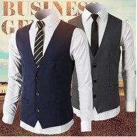 Mens Single Breasted Vest Navy Gray Men Dress Suit Vest Men Formal Vest Suit Gilet Vest Four Buttons