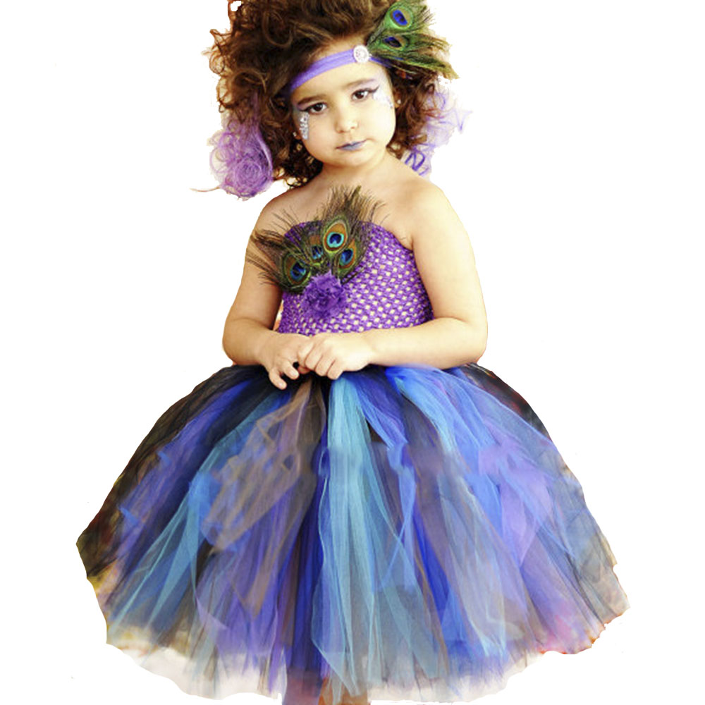 New Girls Peacock Dress Tulle Tutu Dress Feathers Pageant Dresses For Halloween Birthday Party Baby Girl Purple Turquoise Dress ksummeree peacock feather tutu dress with headband girls pageant tulle dress children halloween birthday party costume ts131
