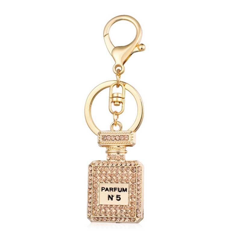 PARFUM N5 KeyChain High quality 3 color full rhinestone perfume bottle key chain woman bag hanging ornaments цены