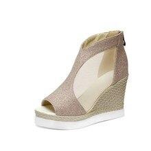 Women Lace Air Mesh Peep Toe Wedges Sandals