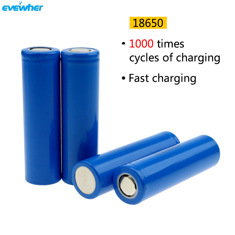 4pcs Rechargeable batery 3.7V Flat 18650 Battery 2200mah li - ion 18650 Lithium ion Bate ...