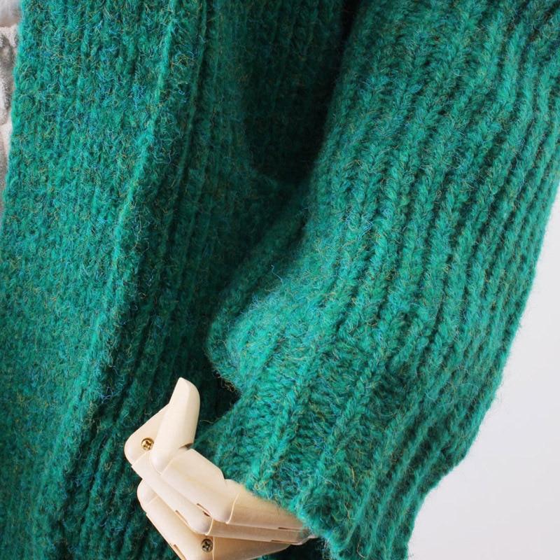 M2750 Longue Chandail Manteau 2018 Femmes Lâche Coréen Nouveau Fonds Vêtements Cardigan Modèle Blue souris Manches green Réel Tricoter Chauve Femme Retour À gules TTxwOqH
