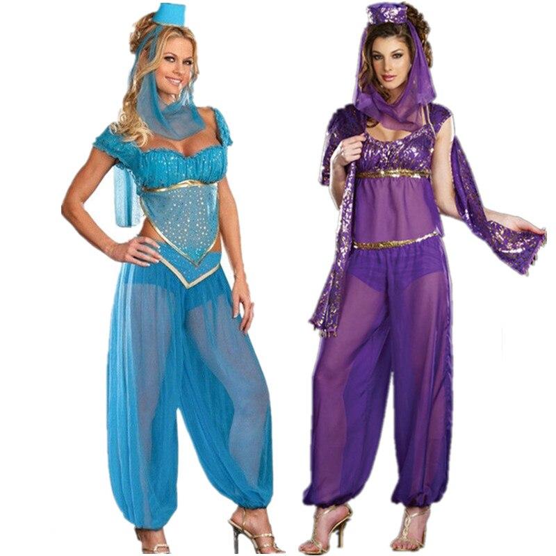 Belly Dancer Gold Coin Genie Bollywood Arabian Princess Ladies Fancy Dress Costu