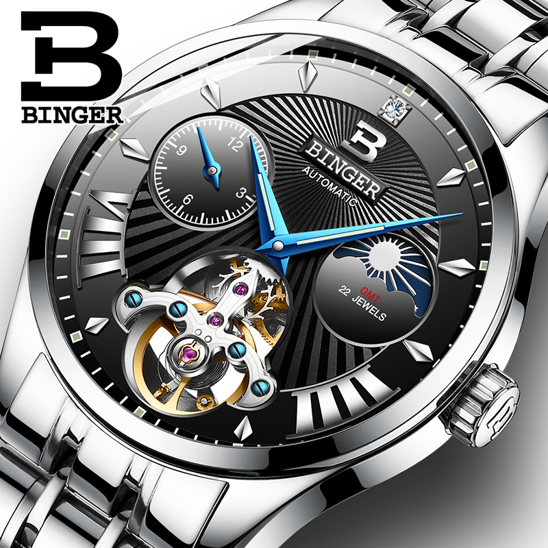 BINGER Mens Watches Top Brand Luxury Moon Phases Automatic Watch Men Double Tourbillon Watch Fashion Casual Business WristwatchBINGER Mens Watches Top Brand Luxury Moon Phases Automatic Watch Men Double Tourbillon Watch Fashion Casual Business Wristwatch