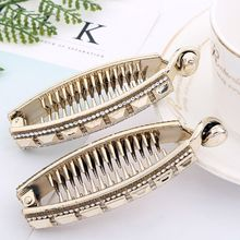 Womens Barrettes Rhinestone Embellishment Hairpins Long Banana Clips Glitter Luxury Ponytail Holder  Hair Clamps With Teeth