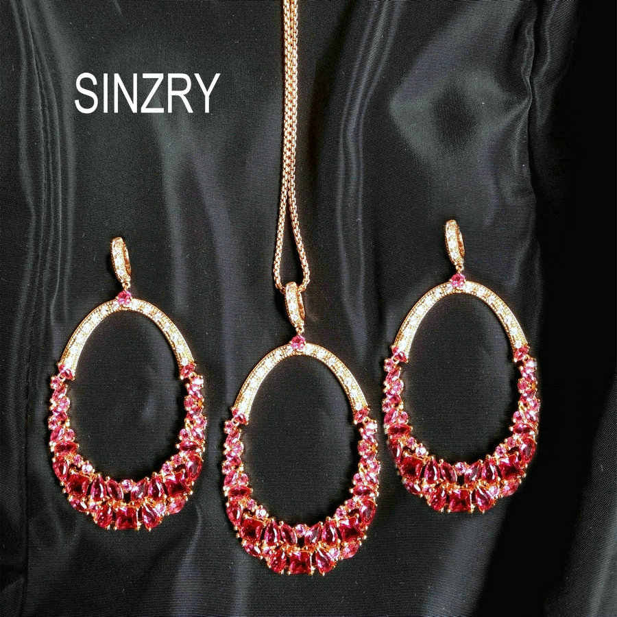 SINZRY Luxury jewelry set AAA Cubic Zirconia elegant oval shape big exaggerated pendant necklace earring sets party