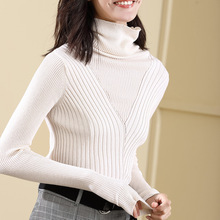 2019 Autumn new arrival elastic rendering wool blend knitting pullover solid color turtleneck sweater women 18080
