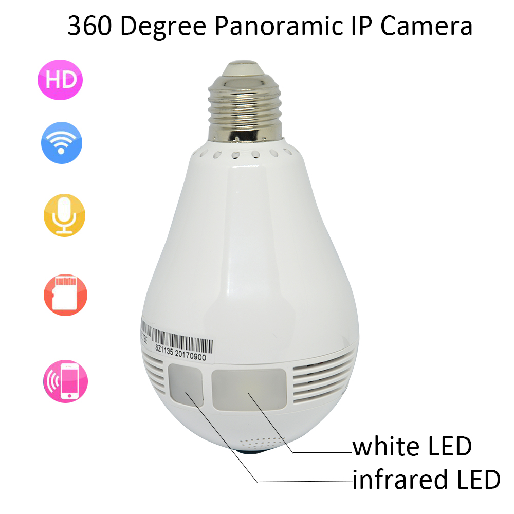 White LED And IR Infrared LED Dual HD 1.3MP Ceiling WIFI panoramic Camera Home Security Wireless Baby Monitor Apps Control 60 led infrared security camera floodlight white