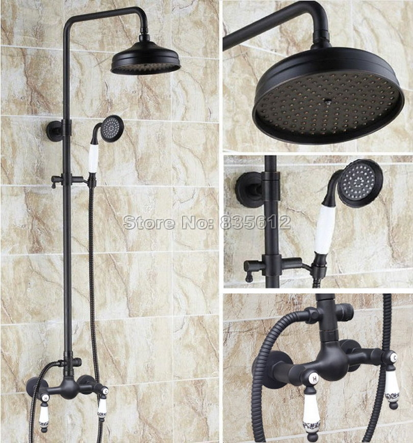 black oil rubbed bronze 8 inch shower heads bathroom rain shower faucet set with ceramic handheld shower wall mount taps wrs518
