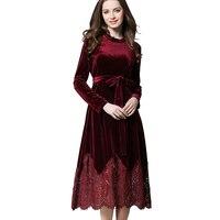 Spring Fall Velour Dress Womens Long Sleeve Belted Lace Patchwork Mid Calf Elegant Velvet Corduroy Dresses Robe Vintage Vestido