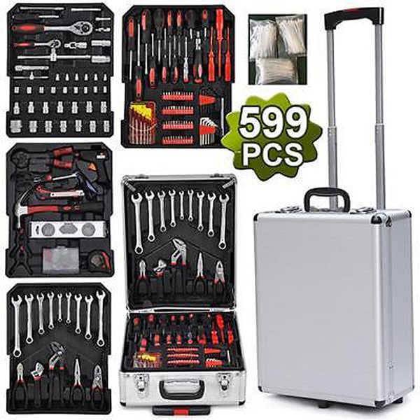 599Pcs Tool Set Workshop Mechanics Garage Kit Box Equipment Storage Trolley Organize Castors Toolbox for Car Home Household