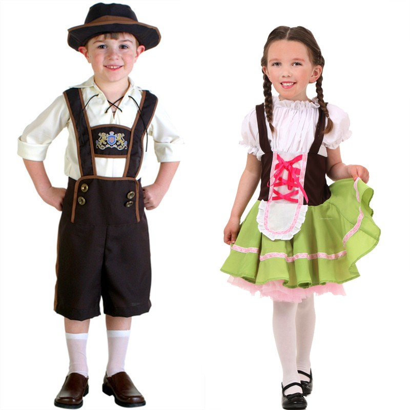 Children Fashion Ggreen Beerfest Oktoberfest Beer Maid Peasant Dress Costume German Wench Uniform for boy girl