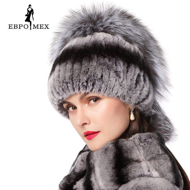 Winter women rex rabbit fur hat with fox fur flowers knitted beanies 2016 new fashion good quality ladies real fur caps