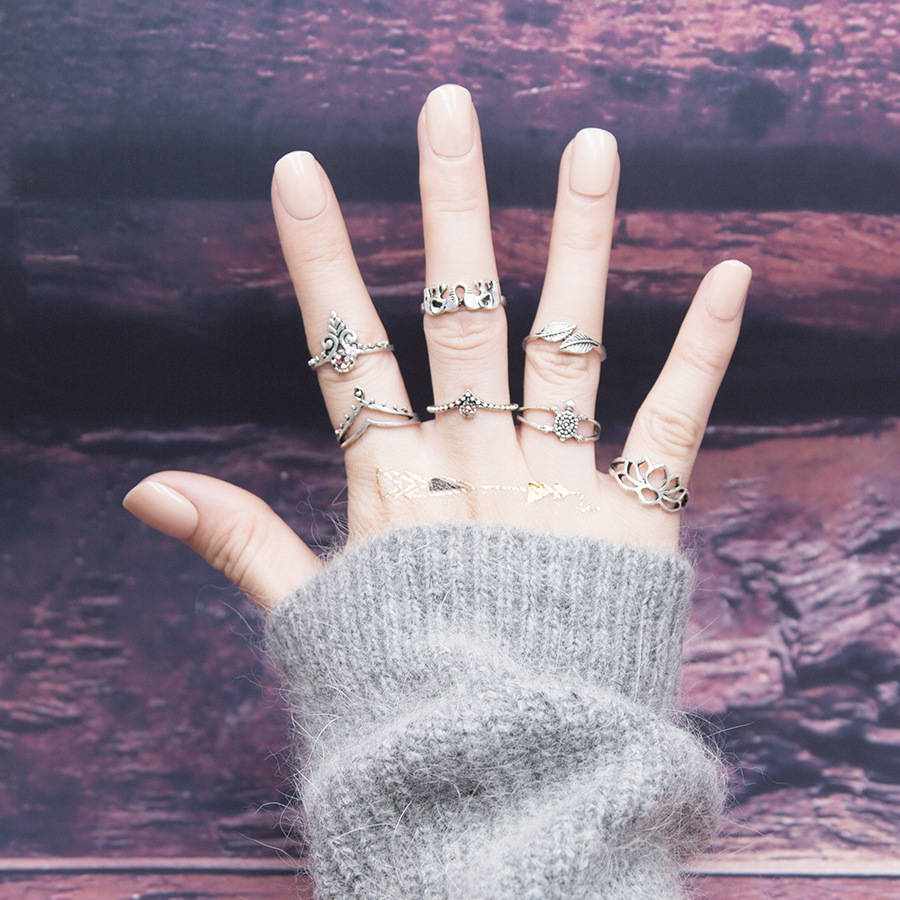 2017 Vintage Ankh Cross Key Flowers Leaf Elephant Tortoise Om Yoga Midi Knuckle Finger Ring Set For Women Bijoux Female Gifts