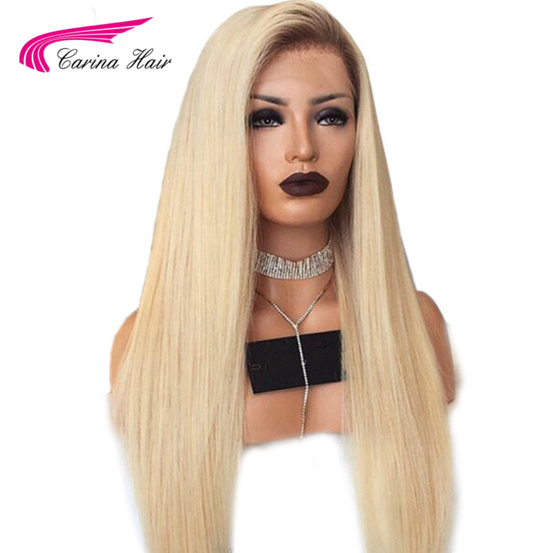 613 Ombre Straight Blonde Lace Front Wig Peruvian Remy Lace Front Human Hair Wigs Pre Plucked For Women