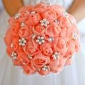 Настройка свадебные букет невесты атласные розы букет с жемчугом кристалл свадебный цветок принадлежности 22 см коралловый фиолетовый голубой