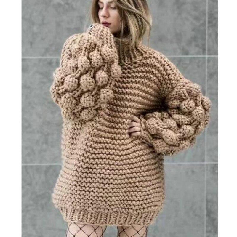 Jersey tejido a mano perezoso 3D flor gancho suéter grueso lana mujeres medio cuello alto lana áspera bolas de hilo 3D linterna manga