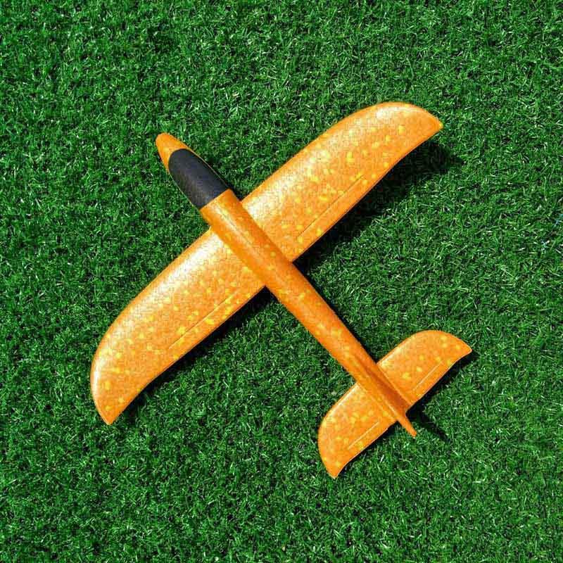 35 см детские игрушки «сделай сам» ручной бросок летающий самолет s пена модель аэроплана светится в темноте Летающий Plane Самолет игрушки для детей - Цвет: 35cm Not Lamp Orange
