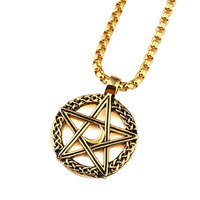Star Moon Pendant Necklace Men Gold Plated Stainless Steel Personalized Punk Necklace Vintage Men Hip Hop