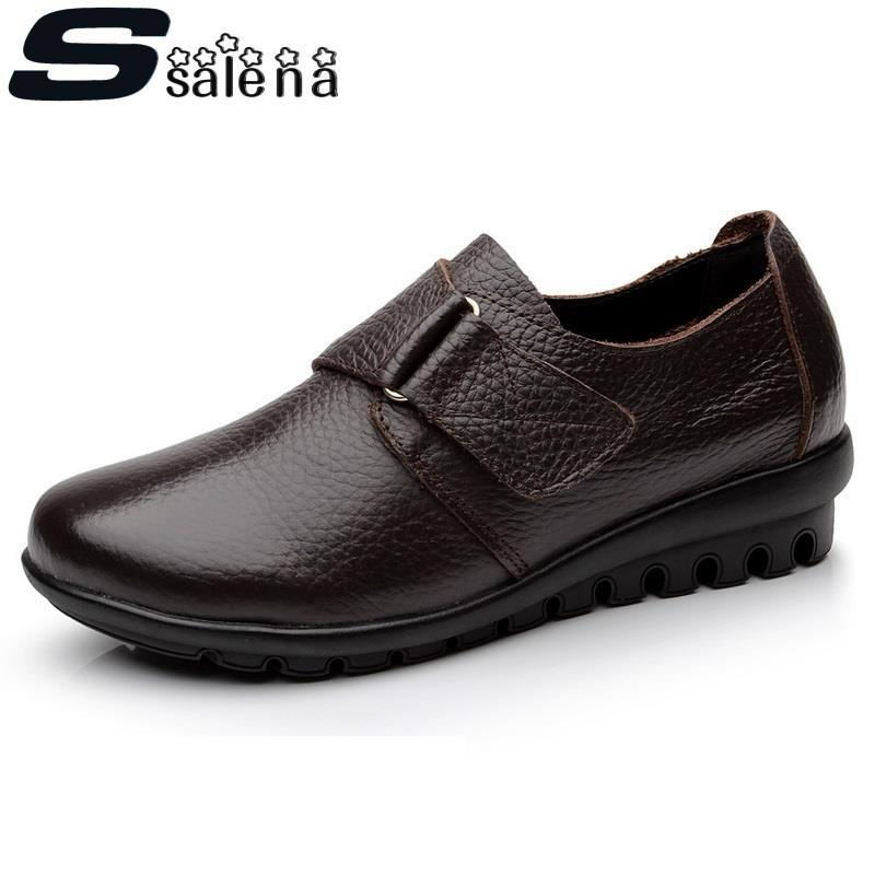 ФОТО EU 43 Women Shoes Flats Women Split Leather Flats Spring Autumn Women Working Shoes Top Quality Big Size #D024