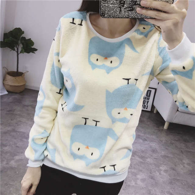 Women Autumn Winter Sweater 2018 Casual Long Sleeve Female Pullover Imperial Crown and Diamond Print Loose Top Women's Clothing 5