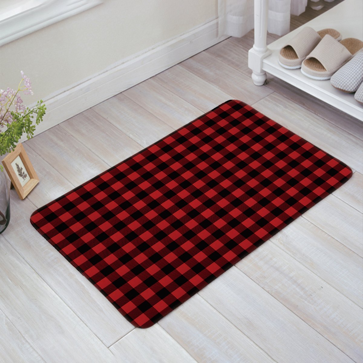 Charmhome Red Black Buffalo Check Plaid Pattern Doormat