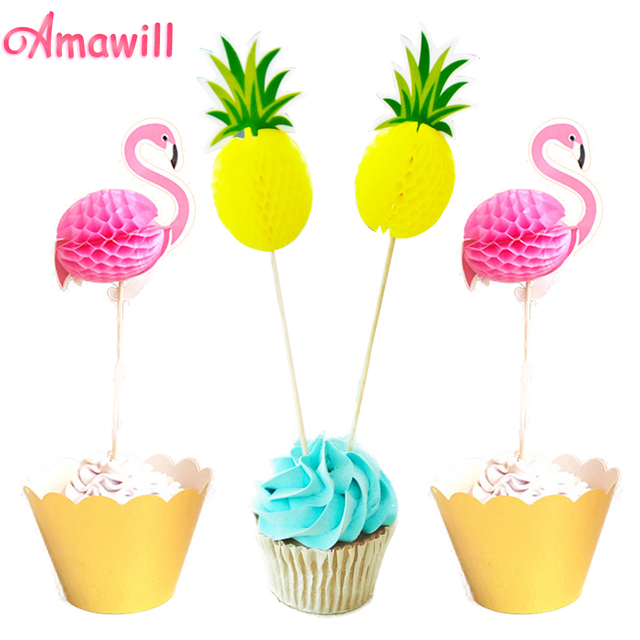 Amawill 10pcs Flamingo Pineapple Cupcake Topper Kids Birthday Cake Decoration Props Hawaii Party Summer Pool
