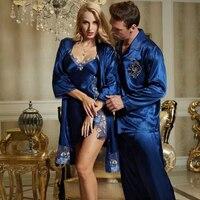 2015 NEW Blue Pajama Sets V Neck Lace Sleepwear Embroidery Sexy Pijamas Modelos Femininos Full Sleeve
