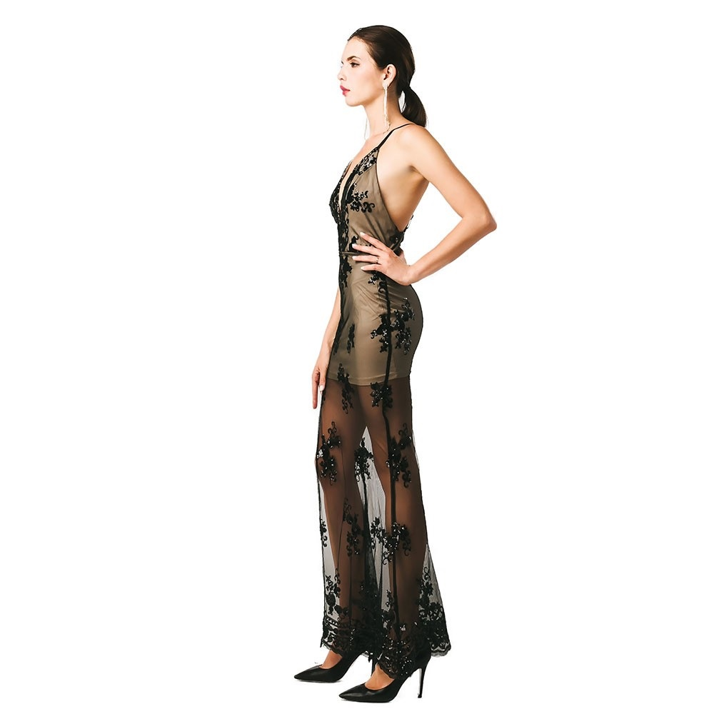Black See Thru Sequin Dress Long Full Length Plunge Sexy Sleeveless-in  Dresses from Women s Clothing on Aliexpress.com  ac1d6e946af8