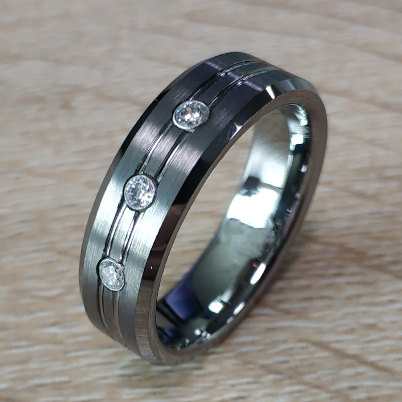Mens  7mm Silver Tungsten Matt Finished 3 CZ Stone Ring